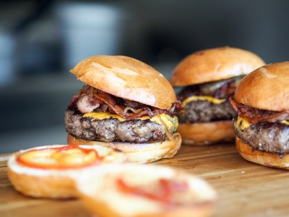 Meadow beef Burgers from cattle reared at our farms in Lancashire